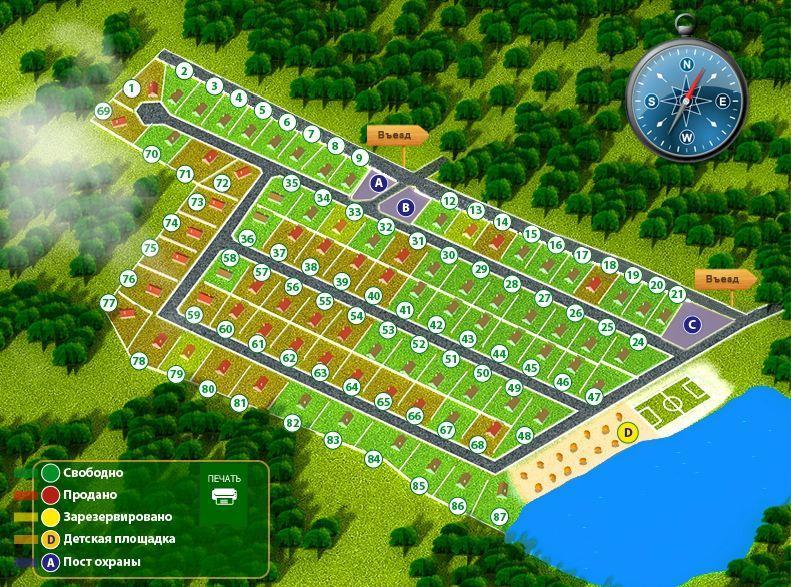 Эко поселок «Юрьевские пруды» генплан №1